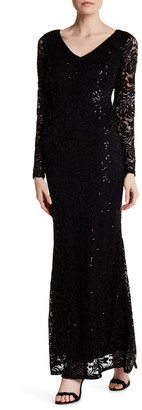 Marina Long Sleeve Lace Gown $189 thestylecure.com