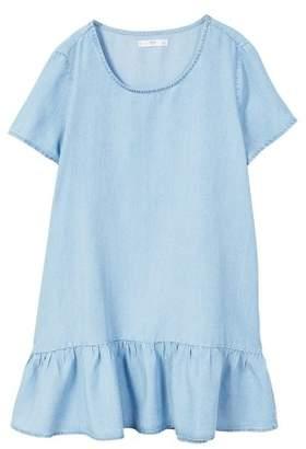 MANGO Frilled denim dress