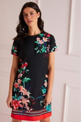 f9dd404156 Lipsy Floral Stripe Border Shift Dress - 4 - Blue