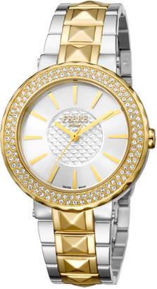 Ferré Milano Women's 36mm Stainless Steel Glitz Watch with Bracelet, Golden/Steel