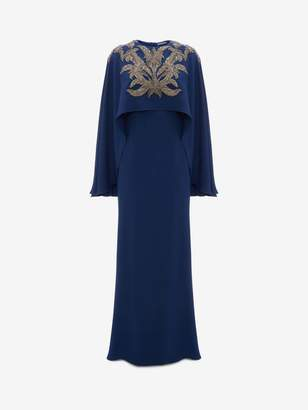 Alexander McQueen Embroidered Cape Back Evening Dress