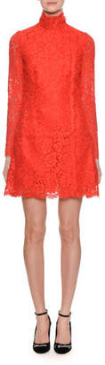 Dolce & Gabbana Mock-Neck Long-Sleeve A-Line Mini Lace Dress