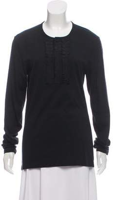 Burberry Ruffle-Accented Long Sleeve Top