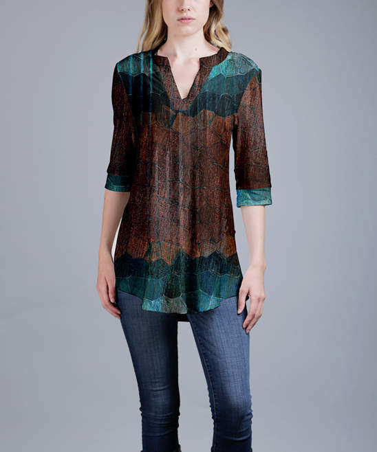 Brown & Teal Geometric Notch Neck Tunic - Women & Plus
