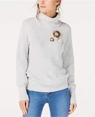 INC International Concepts I.n.c. Brooch Turtleneck Sweater