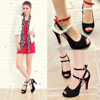 POLYHYMNIA Women Sexy Red Bottom High Heel Summer Party Ankle Strap Fish Mouth Sandals