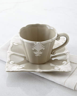 Horchow Four Square Baroque Cups & Saucers