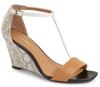 Women's Calvin Klein 'Niall' T-Strap Wedge Sandal $108.95 thestylecure.com