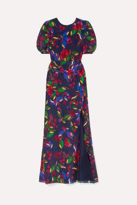 Saloni Annie Floral-print Silk-satin Maxi Dress - Indigo