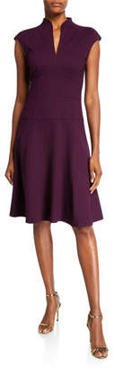 Nanette Lepore Cap-Sleeve Solid Ponte Flare Dress