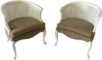 One Kings Lane Vintage French Barrel Back Cane Chairs - Pair - The Silver Oyster