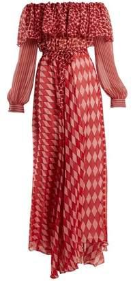 Raquel Diniz - Ane Off The Shoulder Silk Chiffon Dress - Womens - Red Print