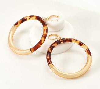 Susan Graver Tortoise Design Goldtone Circle Earrings