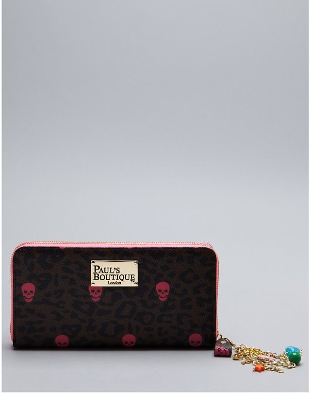 Pauls Boutique Lizzie Leopard and Skull Purse