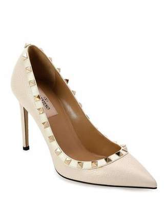 Valentino Rockstud Leather 100mm Pumps, Ivory