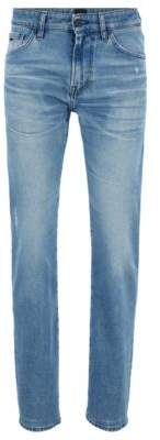 BOSS Regular-fit jeans in eco-friendly stretch denim