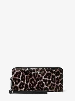 MICHAEL Michael Kors Leopard-Print Calf Hair Continental Wristlet