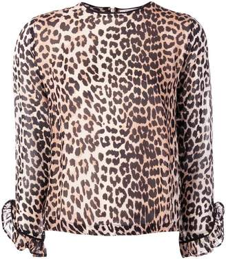 Ganni leopard print long-sleeve blouse