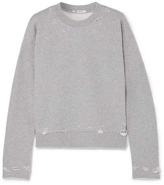Alexander Wang Distressed French Cotton-terry Sweatshirt - Gray