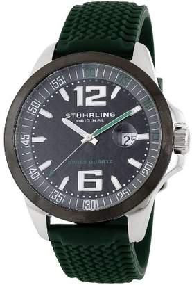 Stuhrling Original Men's Aviator Monterey Bay 219A.332D6D1 Swiss Quartz Date Green Rubber Strap Watch