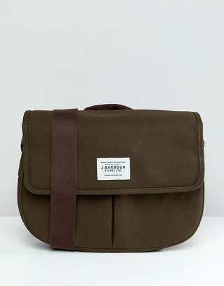 Barbour Cotton Canvas Tarras Messenger Bag In Green