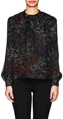 Co Women's Micro-Floral Silk Chiffon Long-Sleeve Blouse