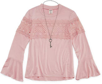 Arizona Bell Sleeve Lace Trim Top with Necklace - Girls' 7-16 & Plus