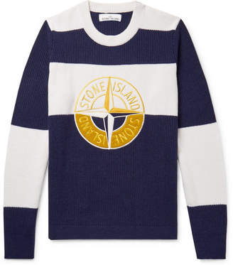 Stone Island Appliquéd Embroidered Striped Wool-Blend Sweater