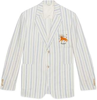 Gucci Striped silk linen jacket with feline