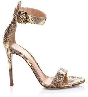 Gianvito Rossi Python Leather Ankle-Strap Sandal