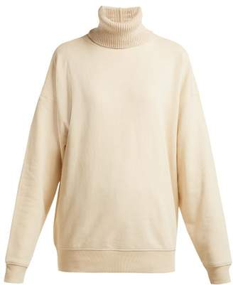 Helmut Lang Contrast Roll Neck Cotton Jersey Sweatshirt - Womens - Ivory