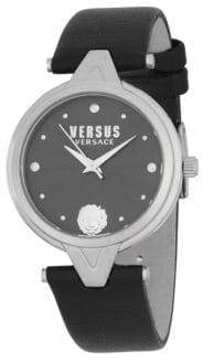 Versace Quartz Stainless Steel Leather-Strap Watch