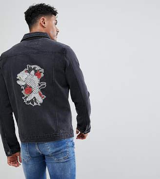 N. Liquor Poker Embroidered Koi And Crane Denim Jacket