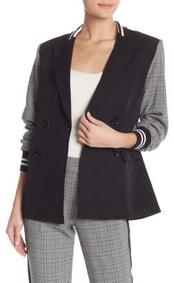 Rachel Roy Peyton Colorblock Plaid Ribbed Blazer