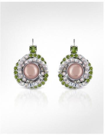 Ileana Creations Green & White Swarovski Crystal Earrings