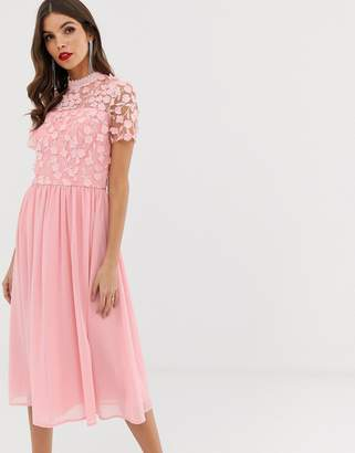 23661a9a Chi Chi London 2 in 1 3D applique skater dress with tulle skirt in pink