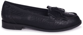 c55219a794f Linzi ROSEMARY - Black Snake Faux Leather Classic Slip On Loafer