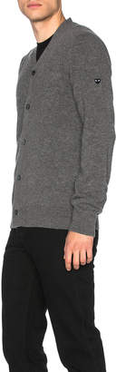 Comme des Garcons Lambswool Cardigan with Small Black Emblem Sleeve in Grey | FWRD