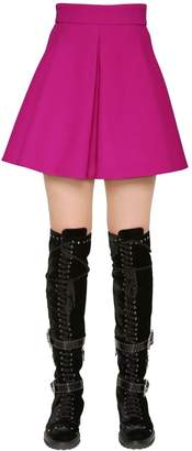Fausto Puglisi Flared Wool Crepe Mini Skirt