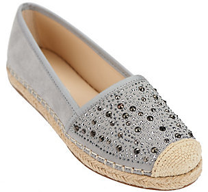As Is Franco Sarto Suede Slip-On Espadrilles w/ Studs- Twilight $21 thestylecure.com