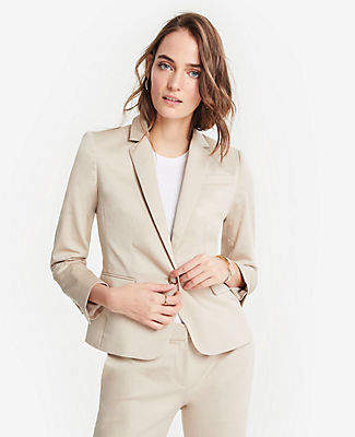 Ann Taylor Tall Cotton Sateen One Button Perfect Blazer