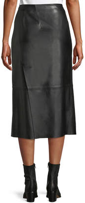 Vince Slit Leather Midi Skirt