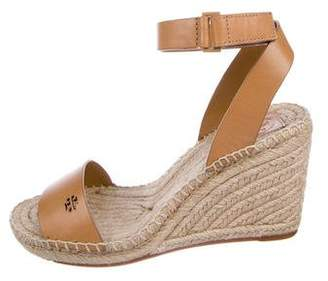 Tory Burch Leather Wedge Espadrilles