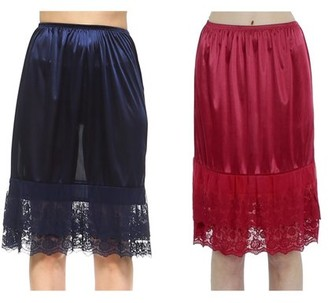 Melody Women's Long Double Layered Lace Satin Skirt Extender Underskirt Half Slip 2 Pieces Combo Pack