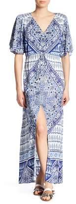 Hale Bob V-Neck Print Maxi Dress