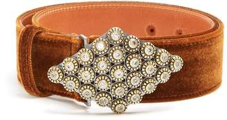 Etro Crystal-embellished velvet belt