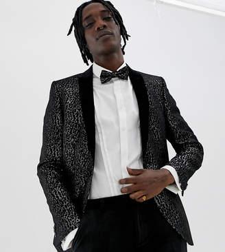 Heart & Dagger skinny fit blazer in black leopard print