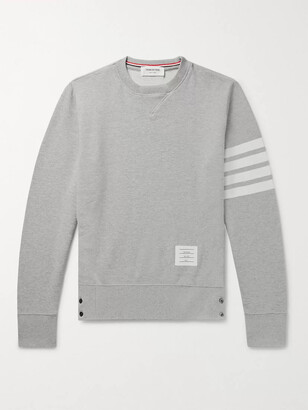 Thom Browne Slim-Fit Striped Loopback Cotton-Jersey Sweatshirt - Men - Gray