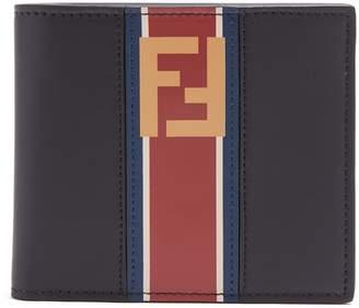 Fendi Stripe and logo-print bi-fold leather wallet