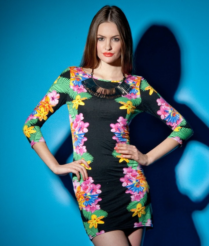Lipsy Long Sleeved Tropical Print Dress
